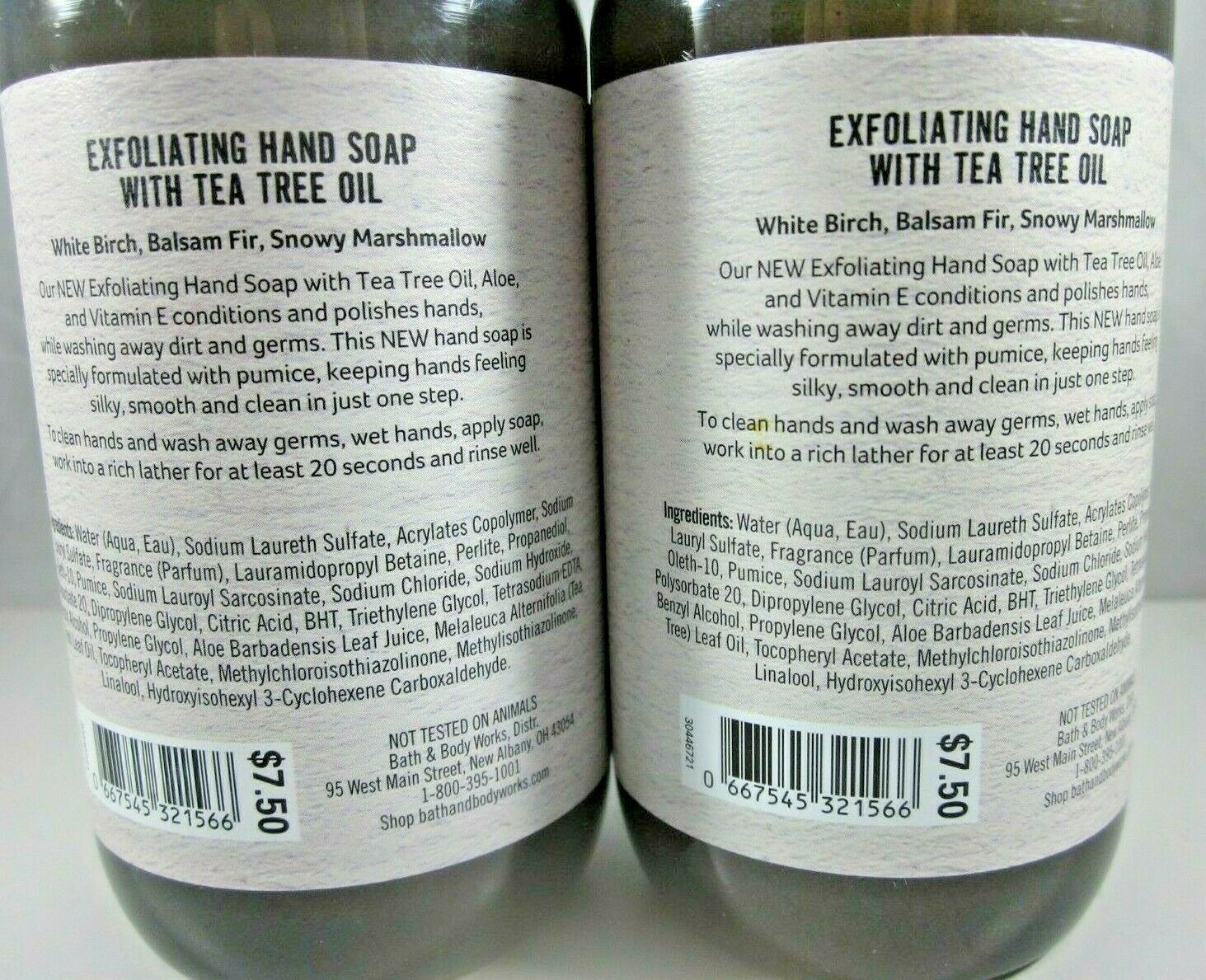 2 Bath & Body Works Exfoliating Hand Soap tea tree oil  Winter White Woods image 4
