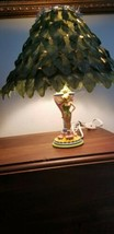 "Disney 2007 Tinkerbell Animated Table Lamp 14"" w/ Green Leaf Shade image 2"