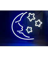 Handmade 'Moon and Star' Sign Art Light Banner Real Glass Tube Neon Ligh... - $75.00