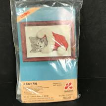 1977 Lee Wards crewel kit kitten in Christmas stocking cat lover gift - $25.13