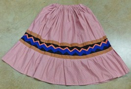 Native American Seminole Womens Patchwork Skirt Dark Peach Elastic Waist... - $59.99