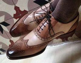 Handmade Men Brown & Tan Leather Wing Tip Heart Medallion Lace Up Dress Shoes image 1