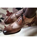 Handmade Men Brown & Tan Leather Wing Tip Heart Medallion Lace Up Dress ... - $139.99+