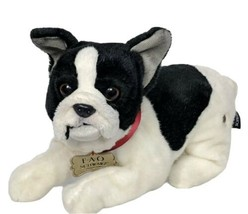 "FAO Schwarz 12"" Lying French Bulldog Stuffed Plush Puppy Dog  - $19.34"