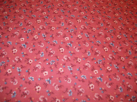 Blue and White Flowers on Outrageous Orange Background Cotton Fabric 1/2... - $3.99