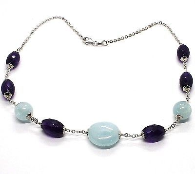 Silver 925 Necklace, Amethyst Oval, Aquamarine Disco Balls, Choker