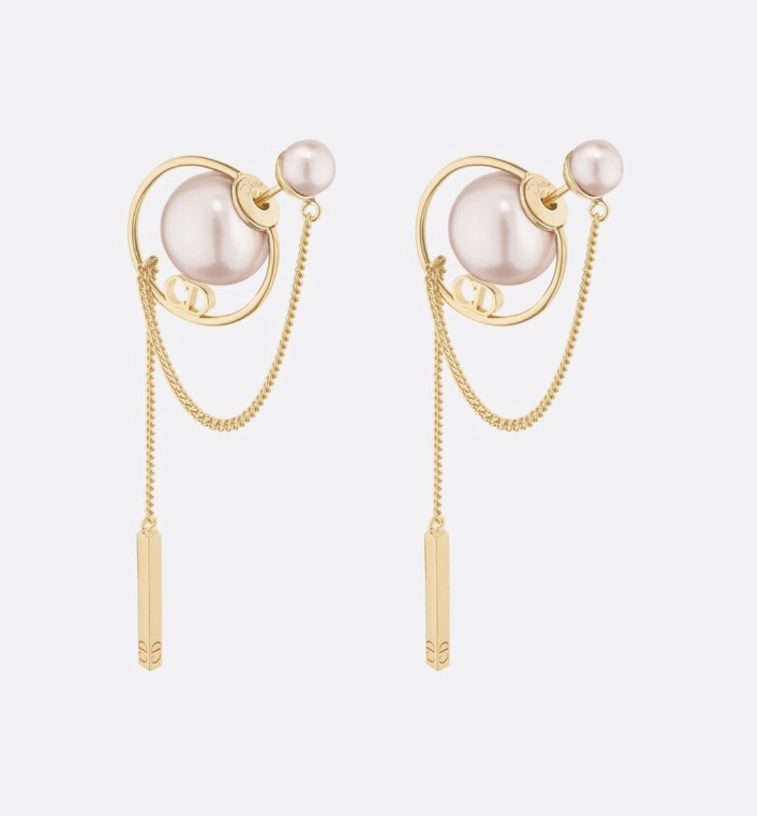 New Auth Dior 2019 Tribales Rose Pink Cd Logo Dangle Earrings