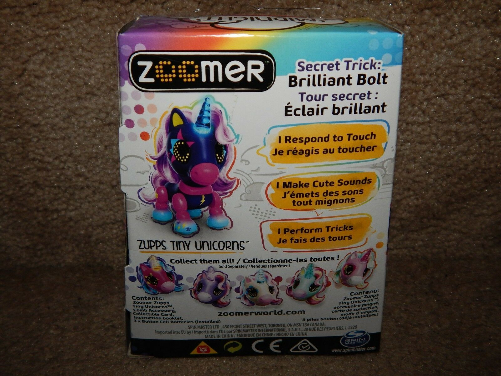 Zooner Zupps Tiny Light-Up Horn Unicorns Figure Midnight 4+ Free Shipping