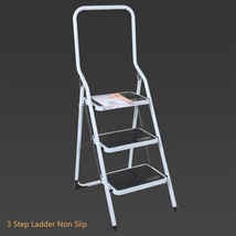 3 Step Ladder Heavy Duty Non Slip Feet With Safety Handrail Steel Foldab... - $53.09