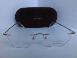 New Tom Ford TF 5340 TF5340 028 50mm Rx Rimless Round Gold Eyeglasses Fr... - $201.77