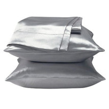2 Standard / Queen size SATIN Pillow Cases / Covers SILVER COLOR - Brand... - $14.95