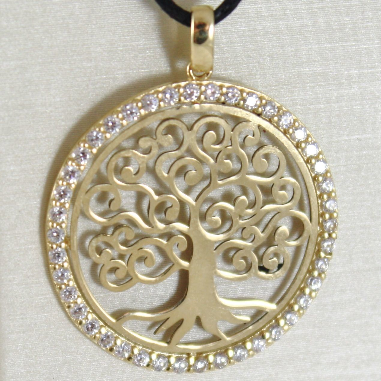 YELLOW GOLD PENDANT 750 18K, TREE OF LIFE, FRAME ZIRCON, MADE IN ITALY