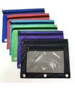 3 Ring Binder Pencil Pouch with Rivet Enforced Hole Zippered Pencil Case... - $13.98