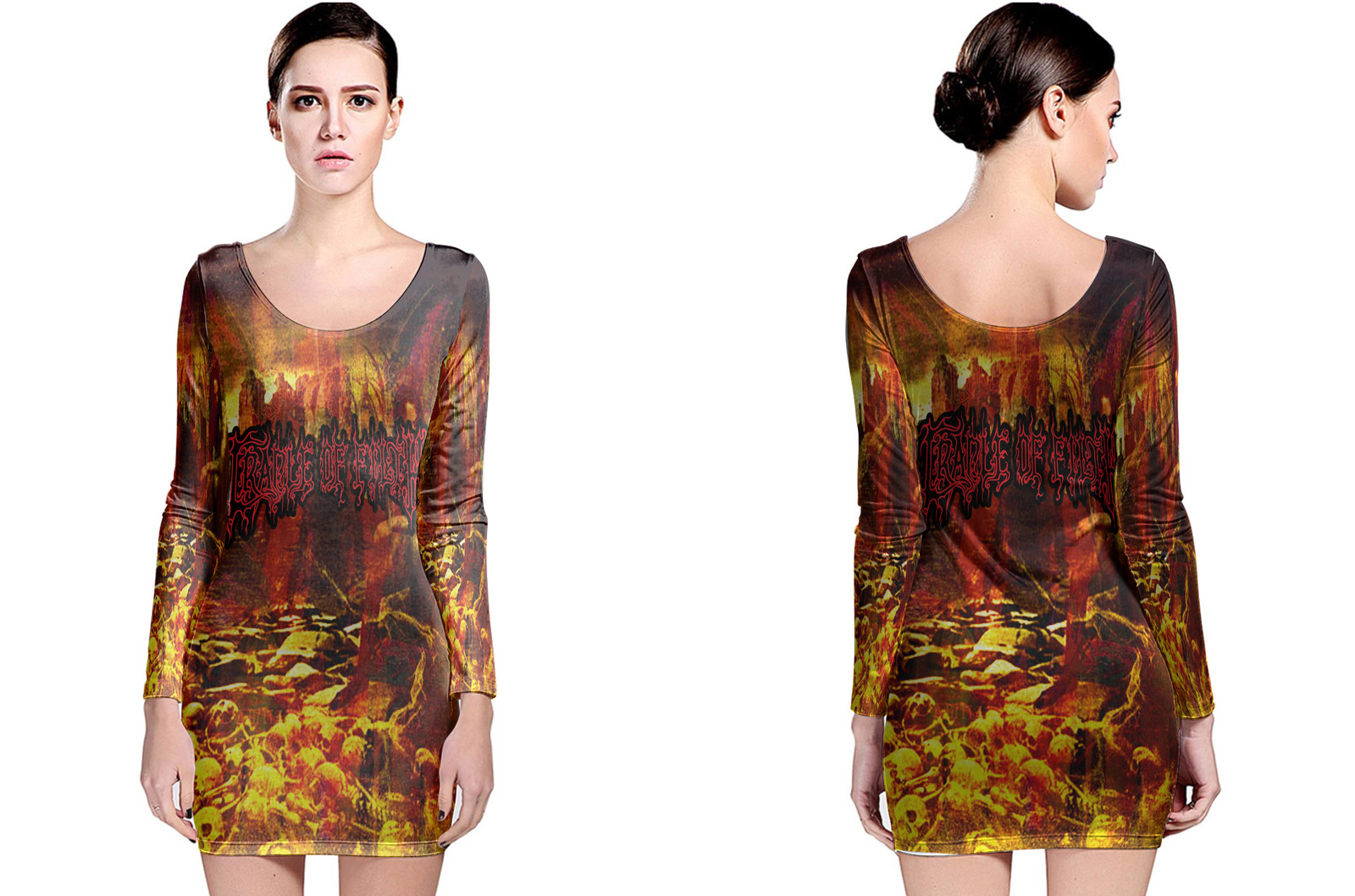 Cradle of filth to enslave long sleeve bodycon  dress