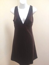 J Crew 8 Dress Brown Velvet Empire Deep V Neck Sleeveless New - $32.32
