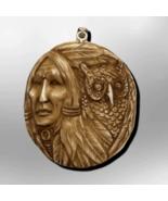 Bone indian head owl front pendant thumbtall
