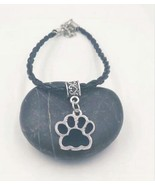 New Hot Drop Glaze Enamel Cat Dog Paw Prints Charm Pendant Leather Cord ... - $10.49