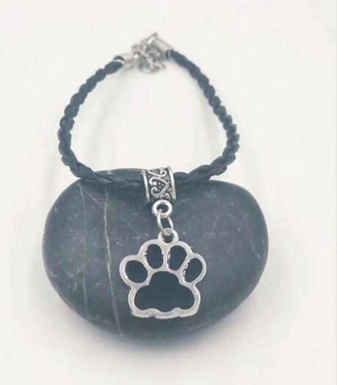 Primary image for New Hot Drop Glaze Enamel Cat Dog Paw Prints Charm Pendant Leather Cord Bracelet