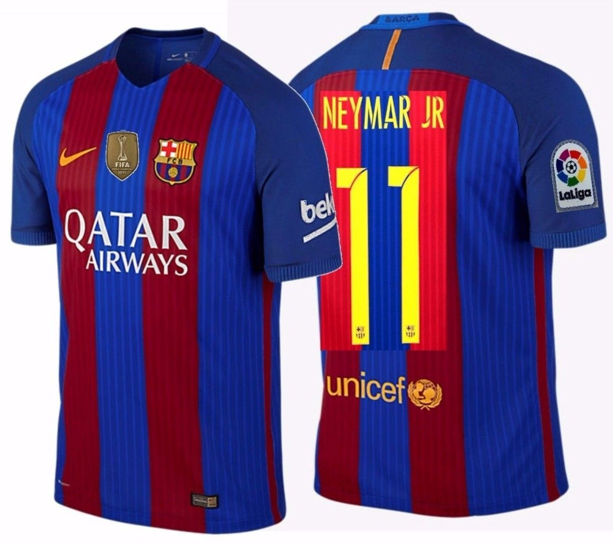 NIKE NEYMAR JR. FC BARCELONA AUTHENTIC VAPOR MATCH HOME JERSEY 2016/17 QATAR.