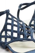 Sandals Navy Sander Flat Leather 37 Metallic 5 Ankle Jil Wrap Lattice Suede SZ zqE1WxB