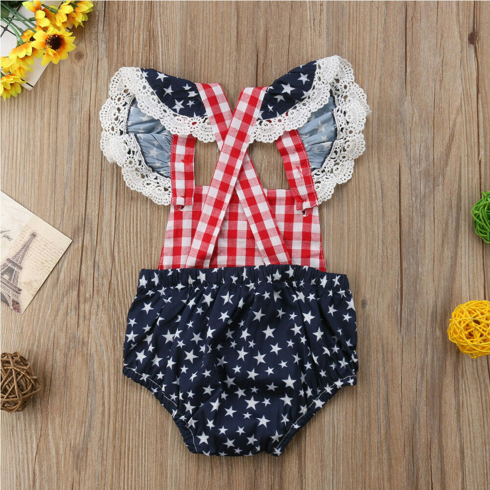 Cute Infant Baby Girls Clothes Fly Sleeve plaid Romper Bodysuit Jumpsuit Outfits image 3