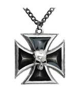 Alchemy Gothic Men's Black Knight's Iron Cross Black Pendant Skull Punk ... - $29.95