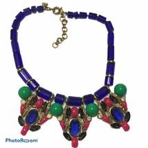 J.Crew Beaded Statement Bib Necklace Bright Cobalt Blue Pink Green EUC -N2 - $37.12