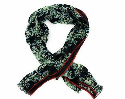 Calvin Klein Pop Color Ditsy Black Floral Red Stripe Silk Scarf - $22.77