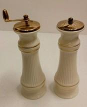 Vintage Lenox Mount Mt. Vernon Ivory & Gold Tall Salt Shaker & Pepper Grinder - $35.19