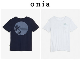 ONIA 2 Men's Johnny Tee Palm Spring/Sun Palm Blue Navy LARGE T-Shirt - $56.09