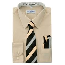 Berlioni Italy Toddlers Kids Boys Long Sleeve Dress Shirt Set With Tie & Hanky image 7