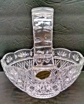 "BOHEMIAN 24% LEAD CRYSTAL 7"" HIGH BASKET WITH ORIGINAL STICKER - $14.84"