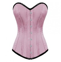 Pink Blush Satin Burlesque Bustier Waist Training Costume LONG Overbust Corset   image 1
