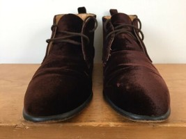 Vtg Ann Taylor Brown Velvet Leather Lace Up Chelsea Ankle Boots Womens 7... - $49.99