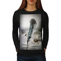 Singer Microphone Music Tee Voice Technology Women Long Sleeve T-shirt - $14.99