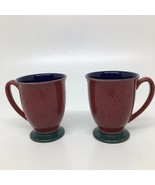 2 Denby HARLEQUIN Footed Mugs/Cups - Red Out- Blue In- Green Foot- England - $23.38