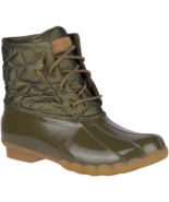 Sperry Saltwater Shiny Quilted Duck Booties Olive, Size 6.5 M - $69.29