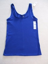 Old Navy Women Top XL Blue Solid Fitted Tank Cotton Spandex 17126 - $8.80