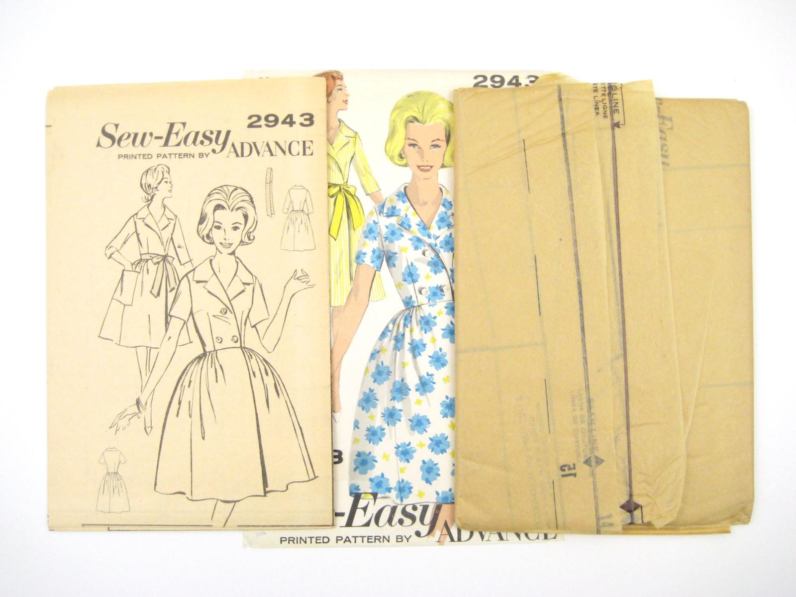 Vtg 60s Advance 2943 Misses House Coat Dress Short 3/4 Sleeve Full Skirt 16/36
