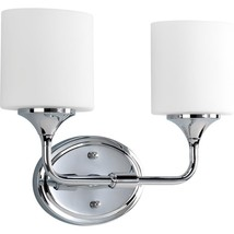 Lynzie Collection 2-Light Chrome Bathroom Vanity Light with Glass Shades - $78.93