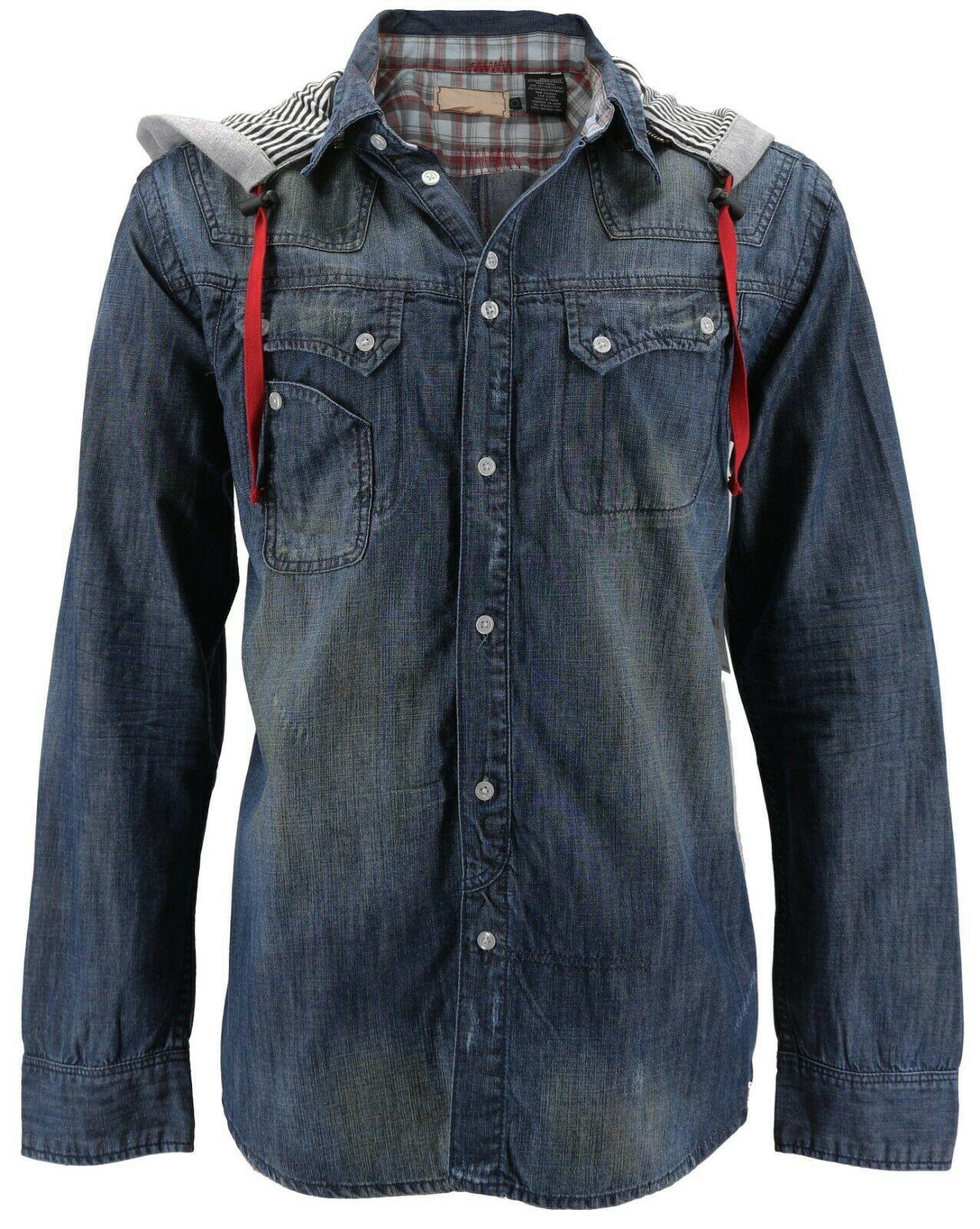 Men's Distressed Vintage Woven Hooded Denim Jean Cobain Shirt Jacket