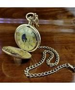 Vintage MAJESTI Swiss Gold Full Hunter See Through Front Moon Dial Pocke... - $129.95