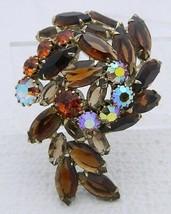 VTG Juliana D&E Topaz AB Rhinestone Crystal Flower Swirl 3D Pin Brooch - $99.00