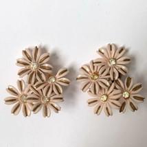 Signed Alice Pink Floral Cluster Clip On Earrings Rhinestone Flower Vintage - $9.84