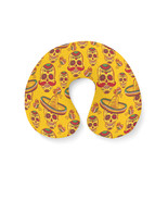 Mexican Sugar Skulls in Gold Travel Neck Pillow - $28.99 CAD+