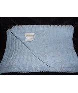 PBK Pottery Barn Kids Baby Blanket Solid Light Blue Cable Knit Chenille  - $39.48
