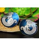 Vintage Bird Cloisonne Guilloche Enamel Earrings Clips Signed Roman - $19.95