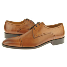 Handcrafted Premium Tan Color Leather Burnished Cap Toe Party Wear Oxford Shoes - $139.90+