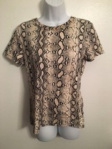 NWT $60 Michael Kors Khaki Snakeskin Sequin Logo Short Sleeve Shirt Top ... - $39.99