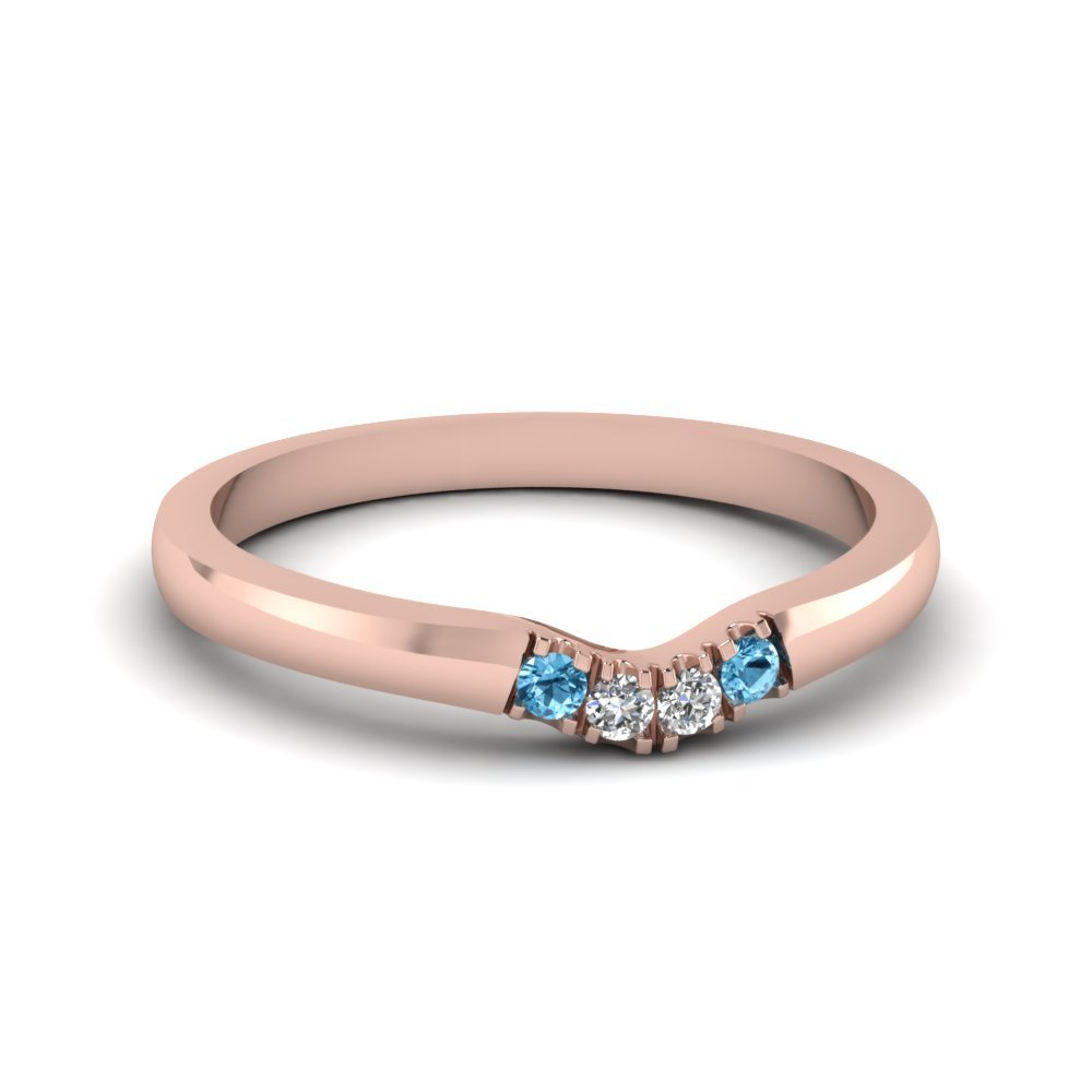 Primary image for Classic Blue Topaz & CZ Diamond 14K Rose Gold FN Curved Wedding Band Ring